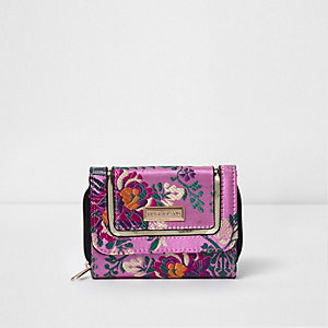 Girls pink floral jacquard purse