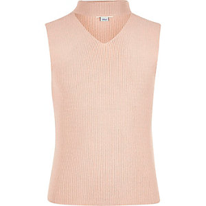 Girls pink choker neck sleeveless sweater