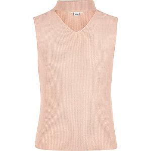 Roze mouwloze chokerpullover voor meisjes