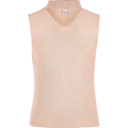Girls pink choker neck sleeveless jumper