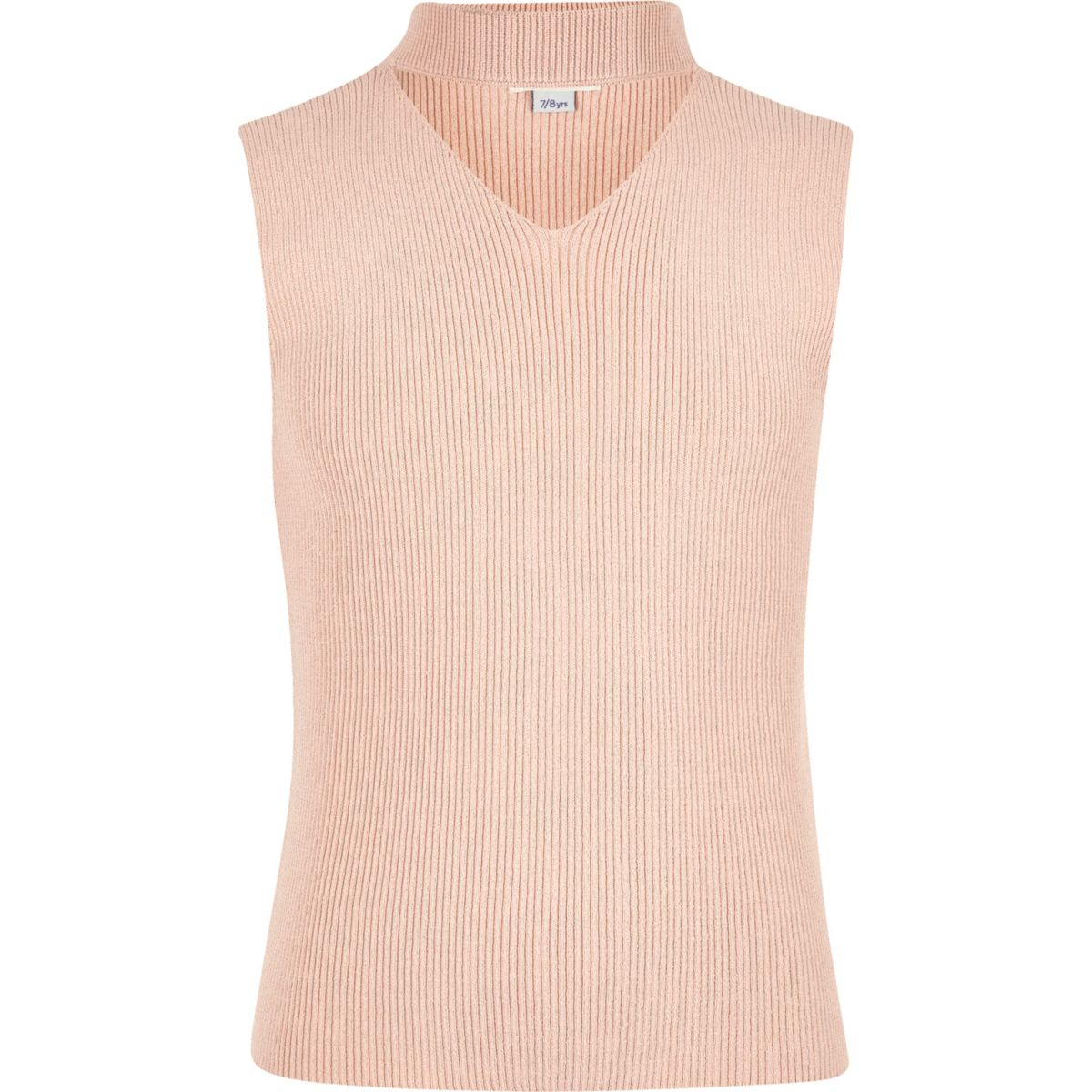 Girls pink choker neck sleeveless jumper