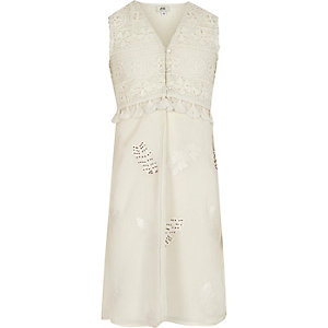 Girls cream lace sleeveless duster coat