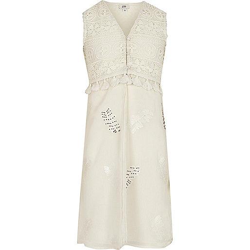 Girls cream lace sleeveless duster coat