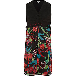 Girls black floral sleeveless duster coat