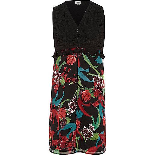 Girls black floral sleeveless duster coat