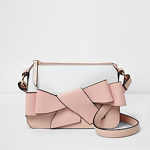 Girls light pink bow front satchel bag