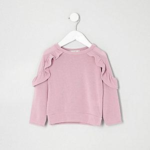 Mini girls purple frill sleeve top