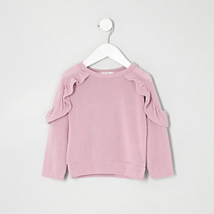 Mini girls purple frill sleeve top