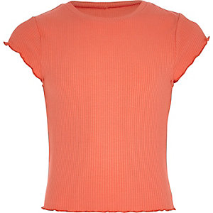Girls coral orange lettuce edge T-shirt