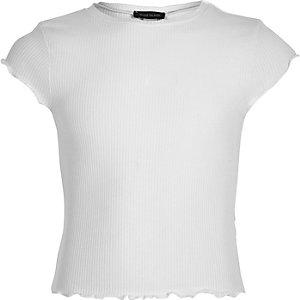 Girls white lettuce edge fitted T-shirt