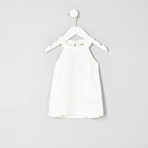 Mini girls cream lace trapeze top