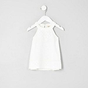 Mini girls cream lace trapeze top