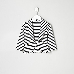 Mini girls navy stripe trophy jacket