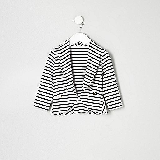 Mini girls navy stripe trophy jacket