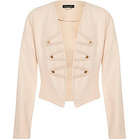 Girls pink embroidered drummer boy blazer