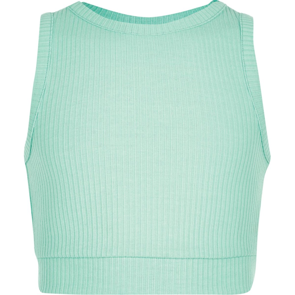 Girls green ribbed crop top