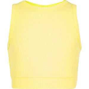 Crop top jaune côtelé pour fille