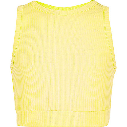Girls yellow ribbed crop top