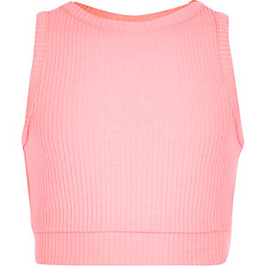 Girls pink ribbed crop top