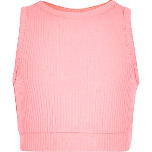 Roze geribbelde crop top voor meisjes