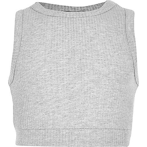 Girls grey marl ribbed crop top