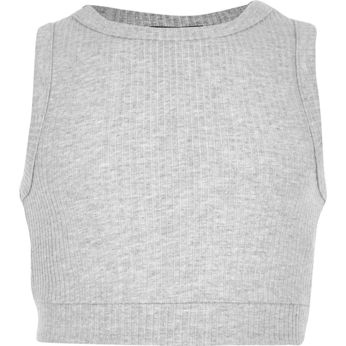 Crop top gris chiné côtelé pour fille
