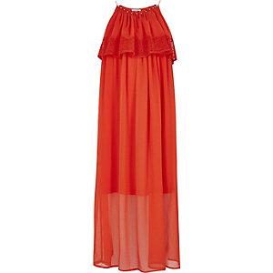 Robe longue en dentelle orange à double épaisseur pour fille