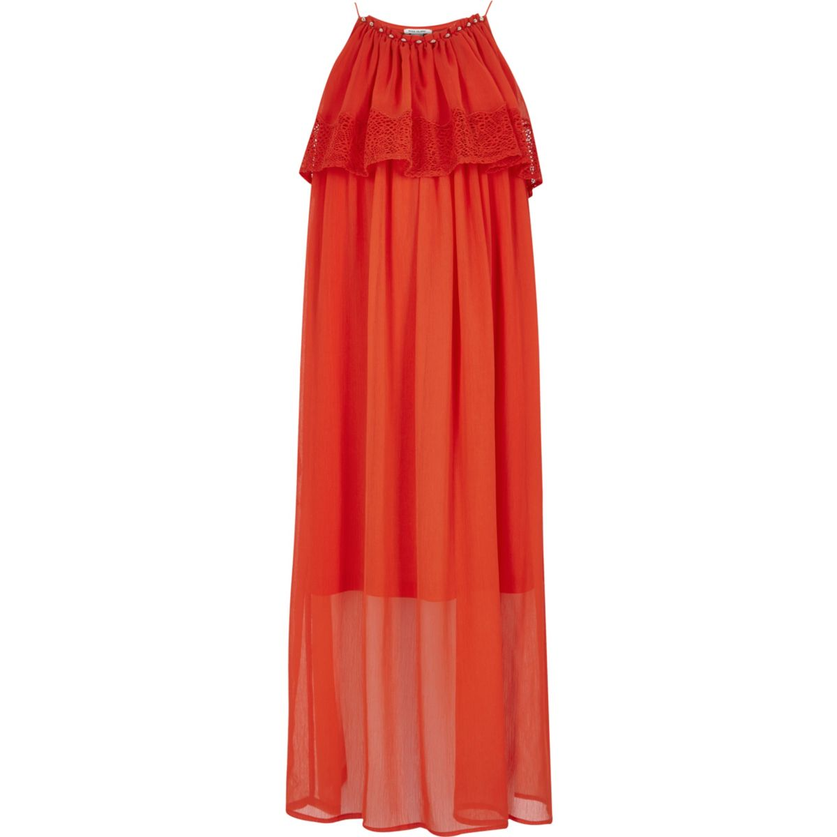 Girls orange double layer lace maxi dress