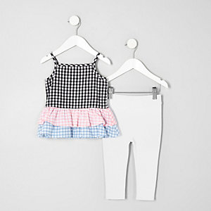 Mini girls gingham frill top leggings outfit