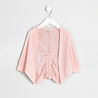 Mini girls pink ruched back cardigan