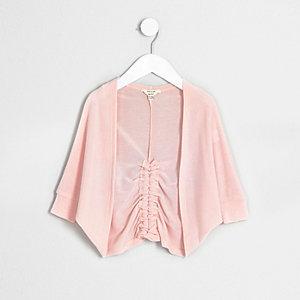 Mini girls pink ruched back cardigan