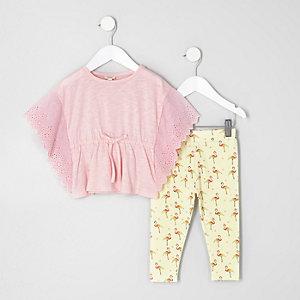 Ensemble avec legging et poncho rose pour mini fille