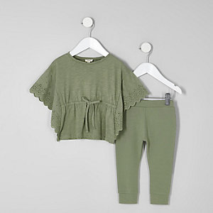Mini girls khaki poncho and leggings outfit