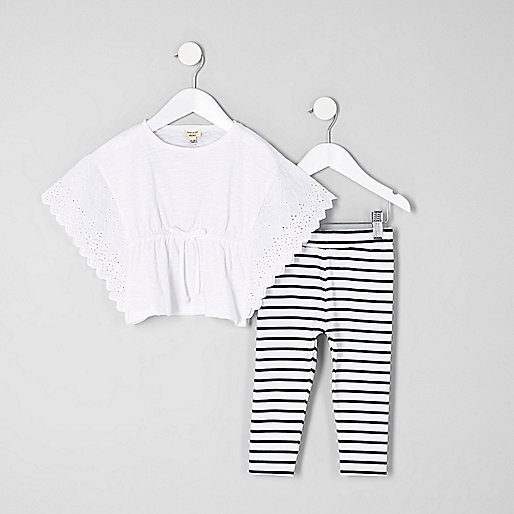Mini girls white poncho and leggings outfit