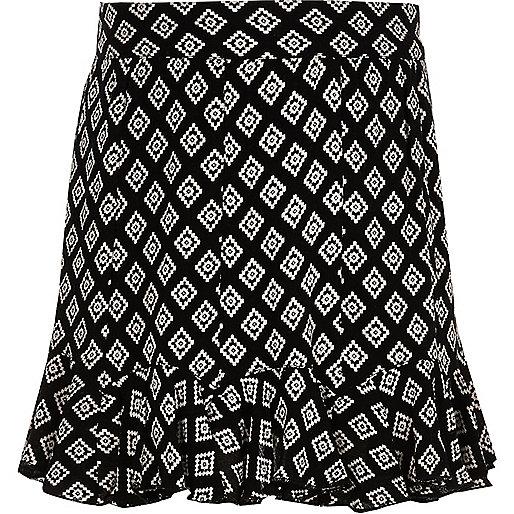 Girls black mono print flippy skirt