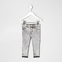 Mini girls grey acid wash Molly jeggings