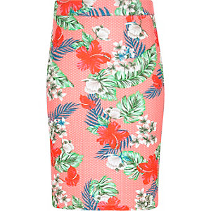 Girls pink tropical print midi pencil skirt
