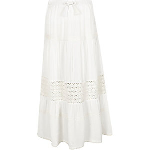 Girls white tiered crochet trim maxi skirt