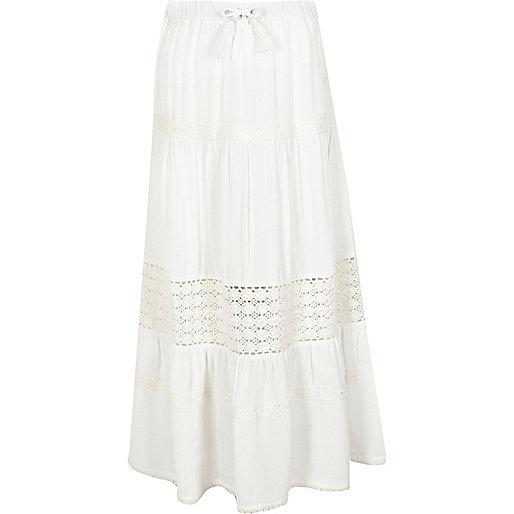 Girls white tiered crochet trim maxi skirt