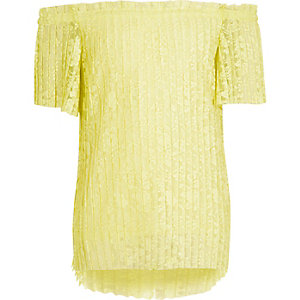 Girls yellow floral lace pleated bardot top