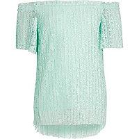 Top Bardot plissé en dentelle motif fleuri vert pour fille
