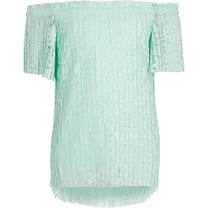 Girls green floral lace pleated bardot top