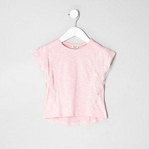 T-shirt en dentelle rose avec volant pour mini fille