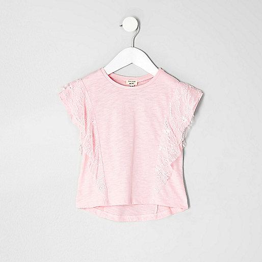 Mini girls pink lace ruffle T-shirt