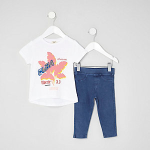 Mini girls white 'Cuba' print T-shirt outfit