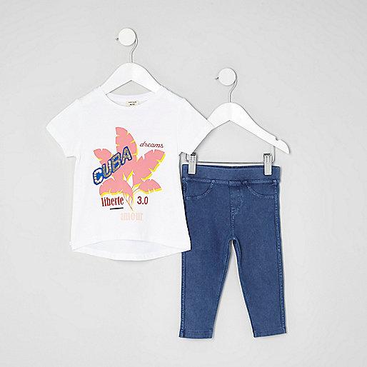 Mini girls white 'Cuba' print T-shirt outfit