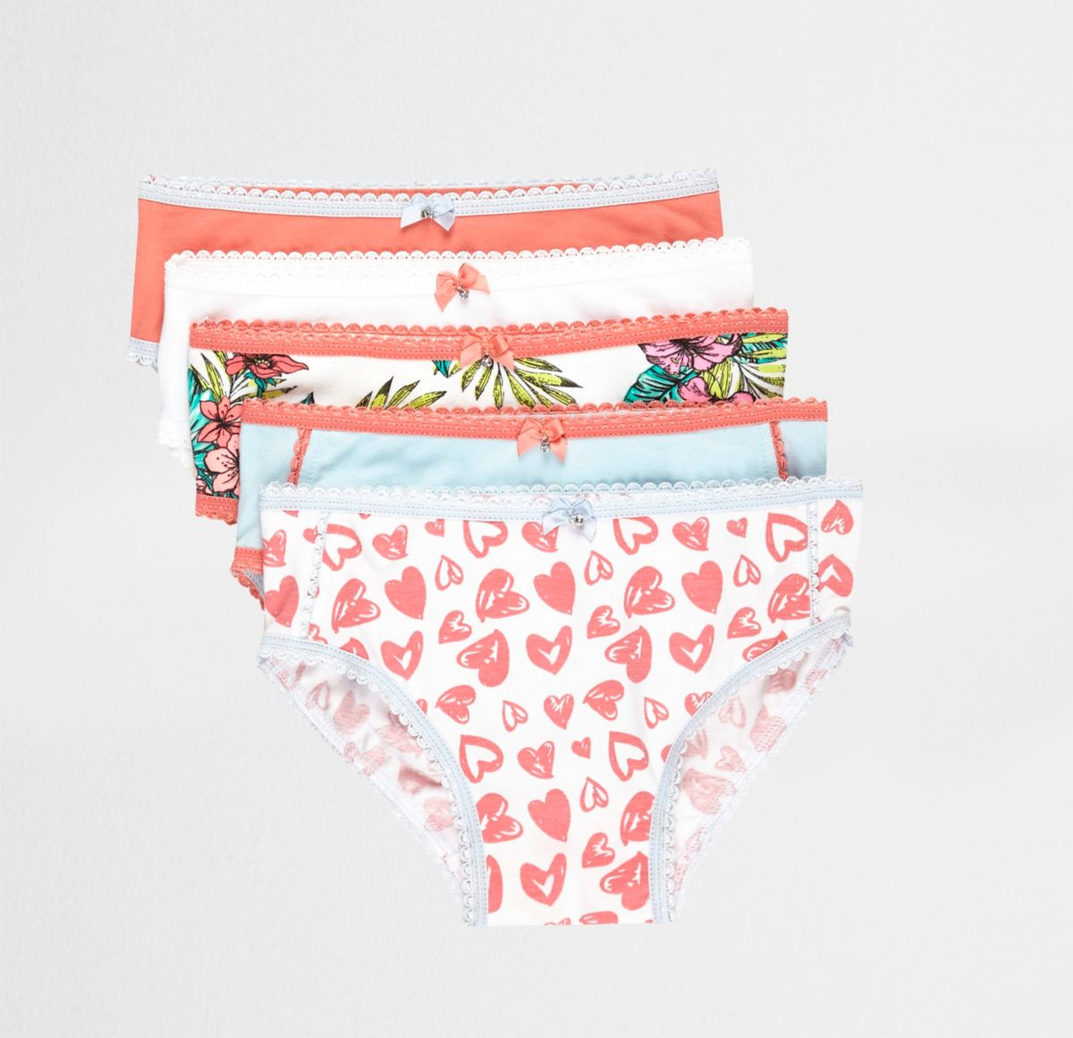 Mini girls pink tropical briefs multipack