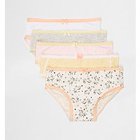 Mini girls yellow unicorn briefs multipack