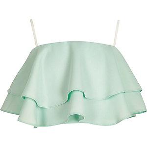 Girls green frill cami crop top