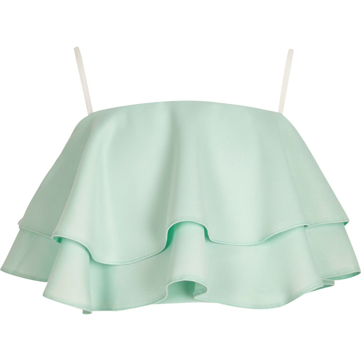 Girls green frill cami crop top